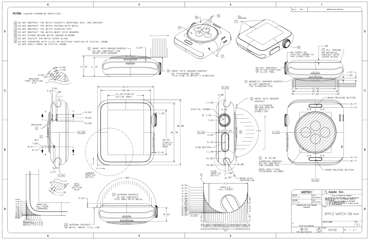 1280x832 Detailed 38mm And 42mm Apple Watch Schematics [Images] Apples