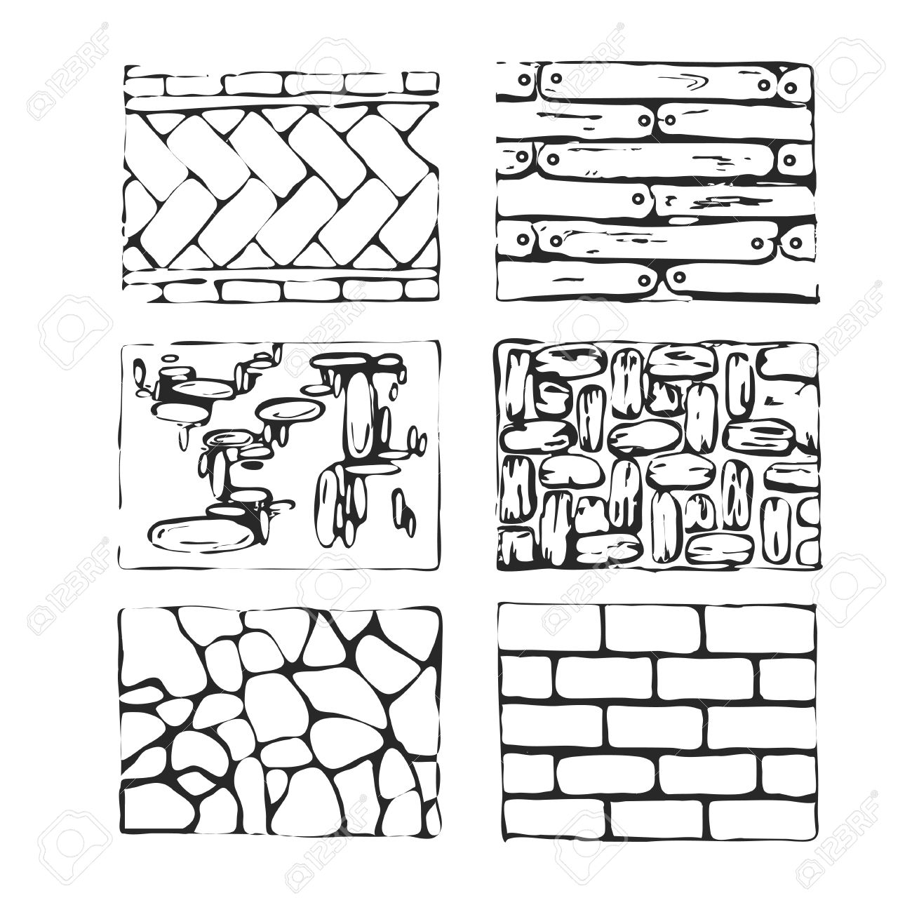 1300x1300 Hand Drawn Paving Stones And Blocks. Detailed Landscape Design