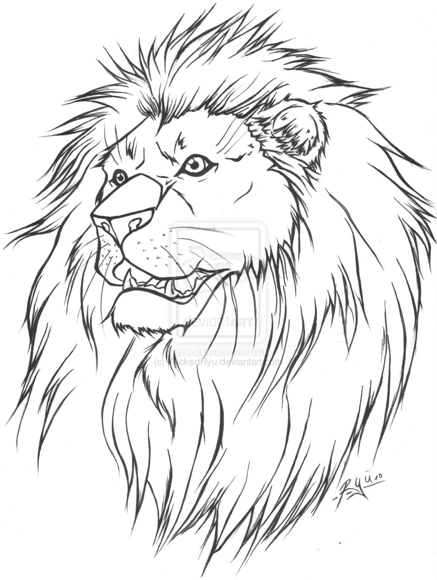 900x1193 Image Detail For Lion Tattoo Lineart Version By Wickedryu