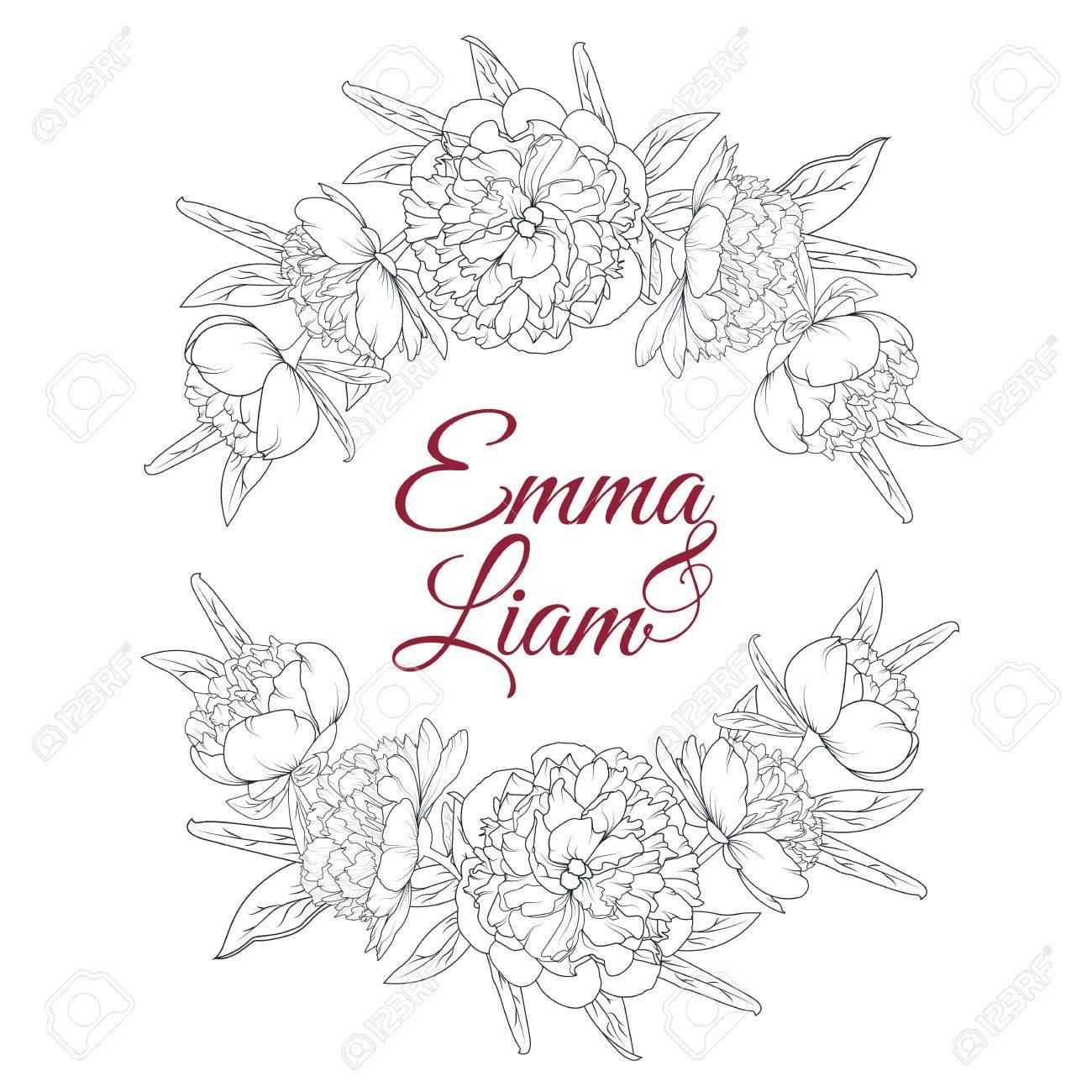 1300x1300 Peony Flowers Laurels Element. Wedding Marriage Bridal Invitation