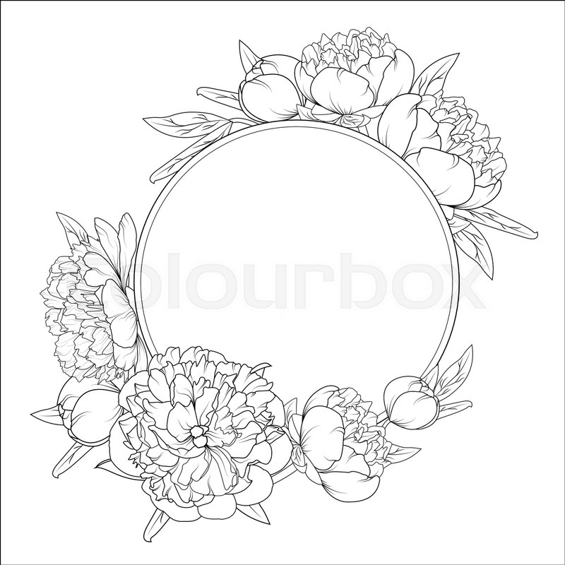 800x800 Rose Peony Spring Summer Flowers Round Frame Wreath. Detailed