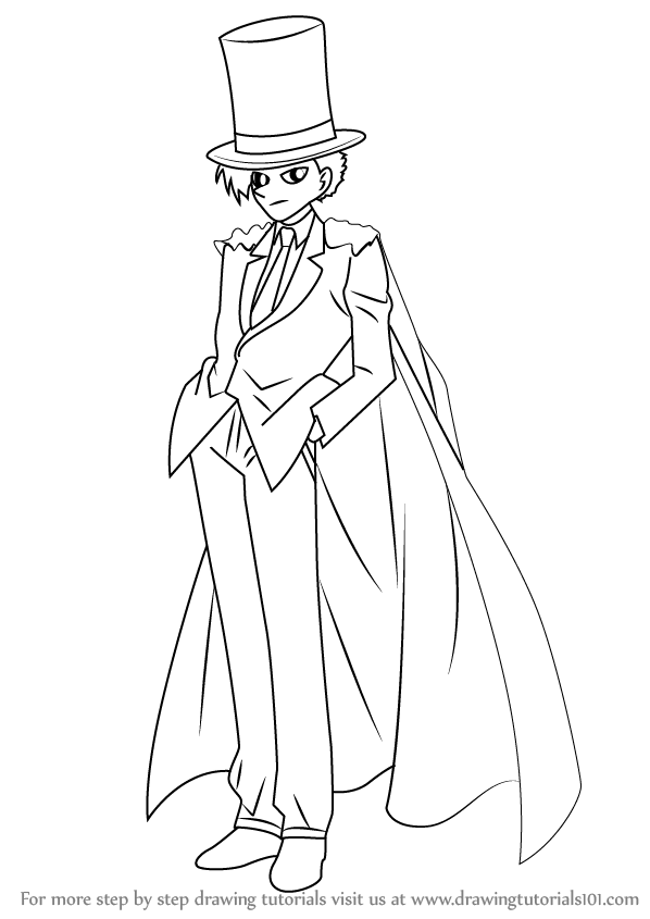 598x845 Learn How To Draw Kaitou Kid From Detective Conan (Detective Conan