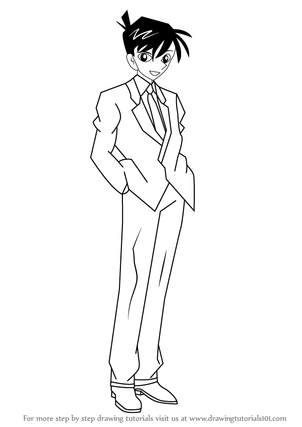 597x844 Learn How To Draw Shinichi Kudo From Detective Conan (Detective