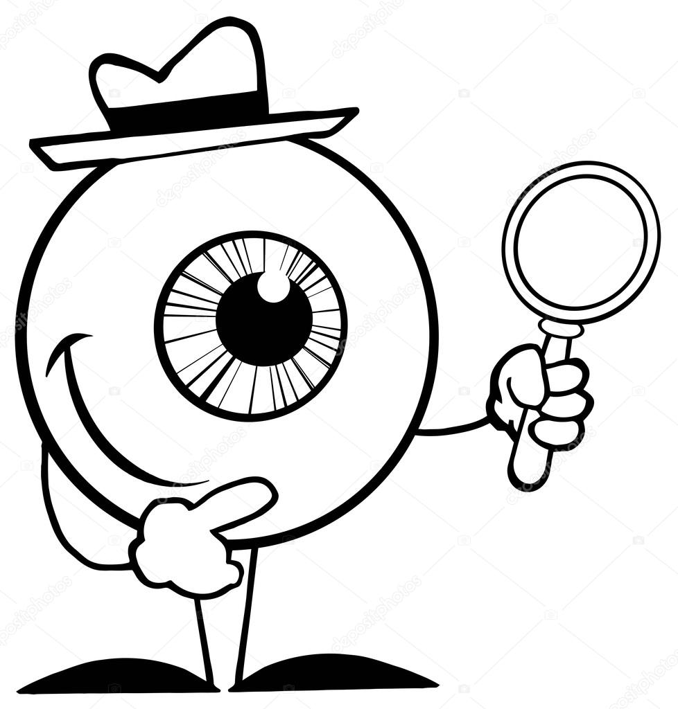 978x1024 Outlined Detective Eyeball Stock Photo Hittoon