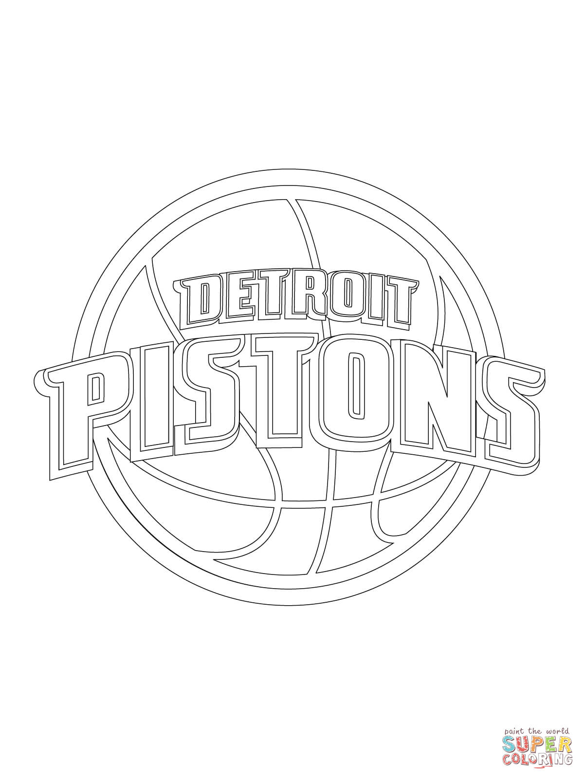 1200x1600 Detroit Pistons Logo Coloring Page Free Printable Pages