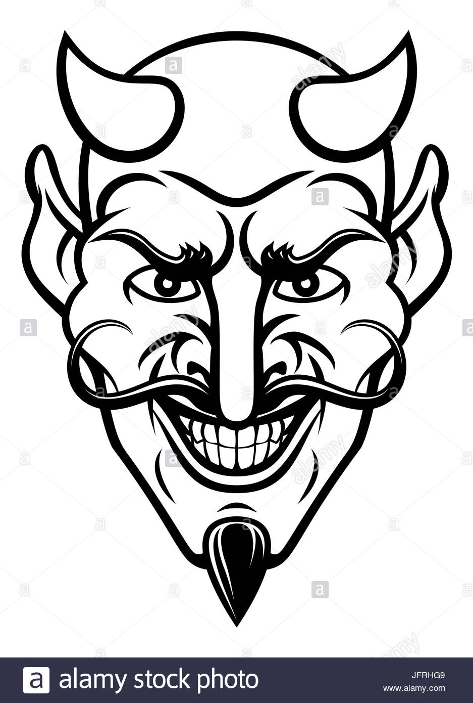 937x1390 A Devil Cartoon Character Sports Mascot Face With An Evil Grin
