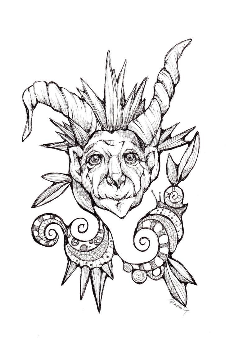 770x1089 Saatchi Art Cheeky Devil Drawing By Renata Lombard