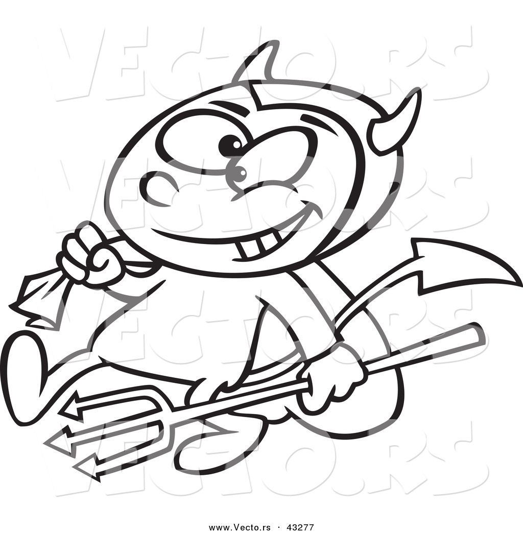1024x1044 Vector Of A Devil Cartoon Boy Carrying A Candy Sack And Pitchfork