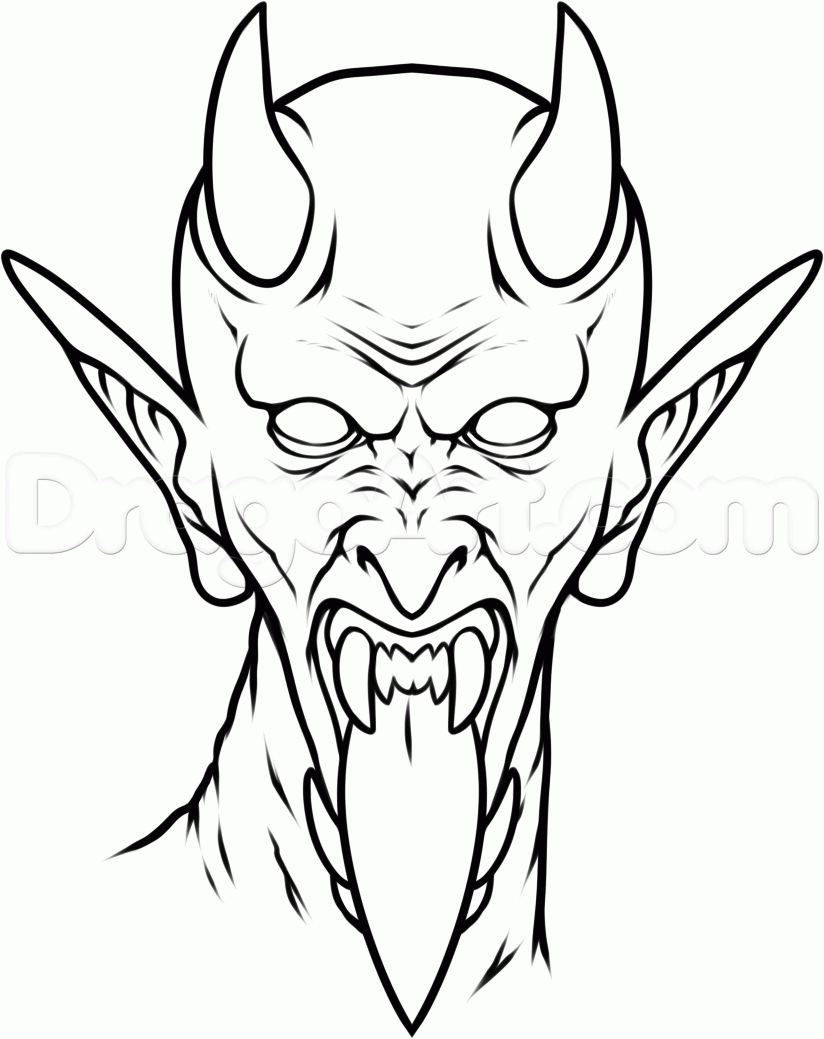 824x1039 Drawing Of The Devil Black Outline Devil Face Tattoo Stencil