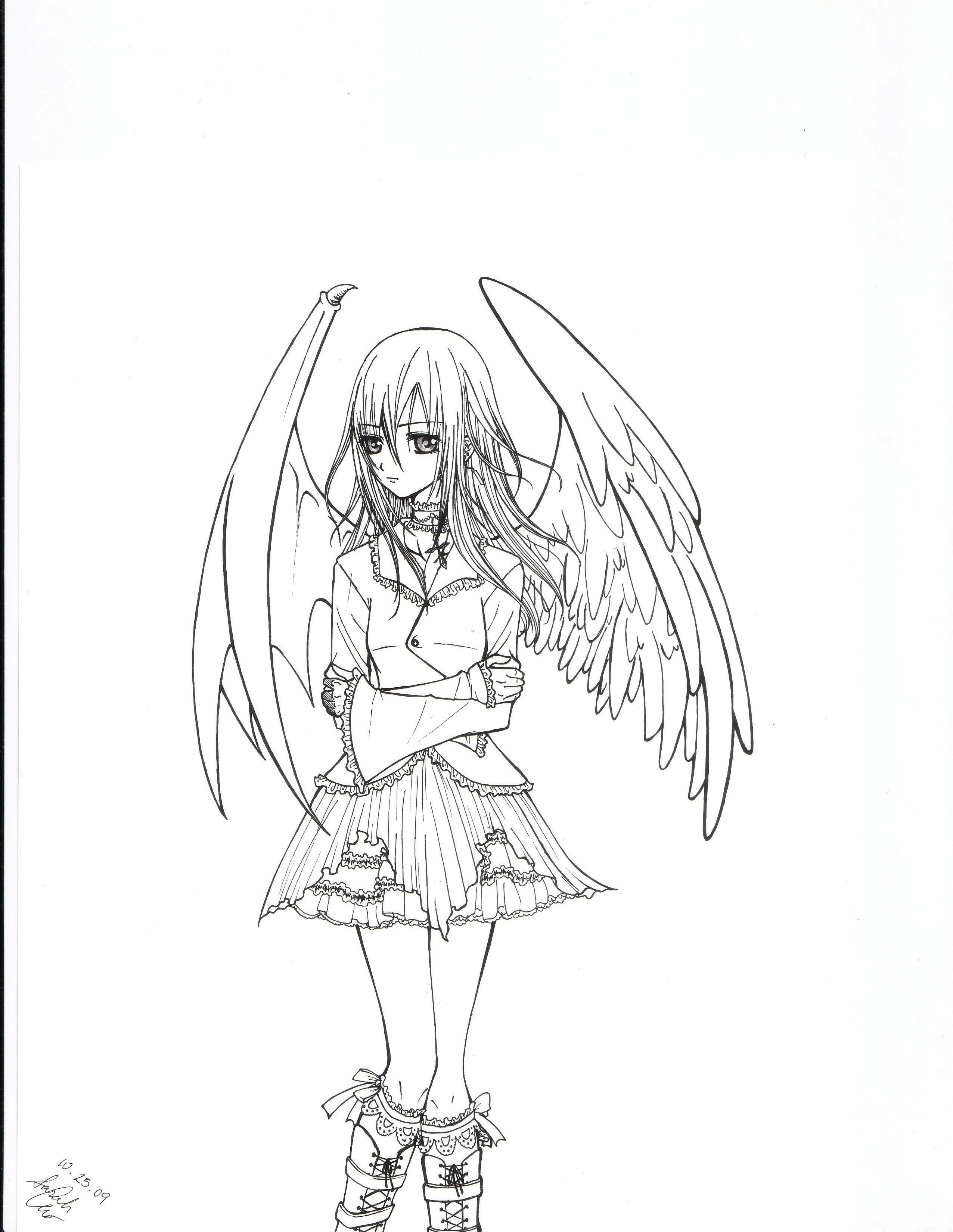 2552x3300 Angel Devil Hybrid Girl By Strawberrycat31