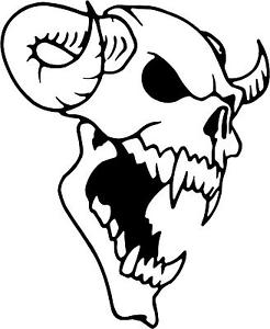 246x300 Demon Skull Horns Decal 9.75x8 Choose Color! Vinyl Sticker Ebay