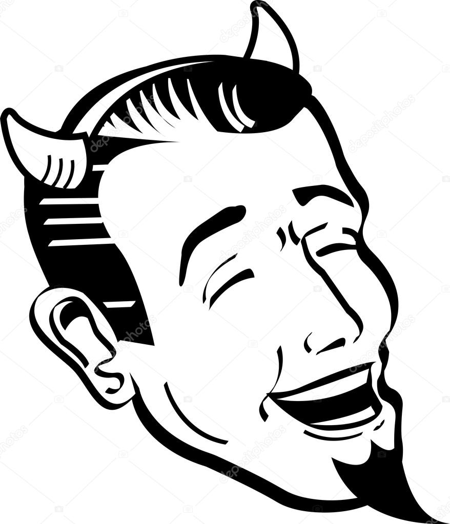 878x1023 Man Wearing Devil Horns And A Goatee And Laughing Stock Vector