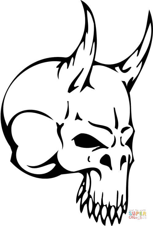 498x734 Devil Skull Coloring Page Free Printable Coloring Pages