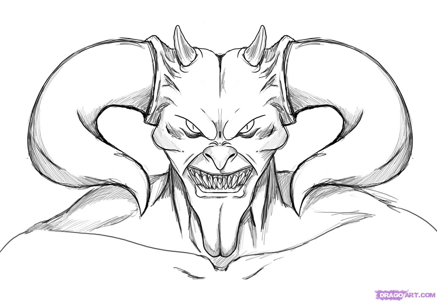 1400x969 Drawing Of The Devil A Devil Skull, Devil Skull Tattoo, Addeddawn