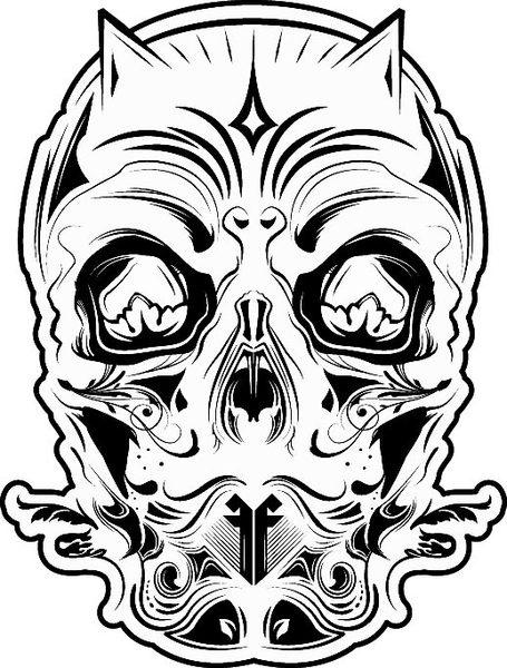 455x600 Ff 26 Devil Skull Black And White Free Vector In Encapsulated