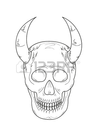 323x450 Sketch Of The Skull With Devils Horns On White Background Royalty