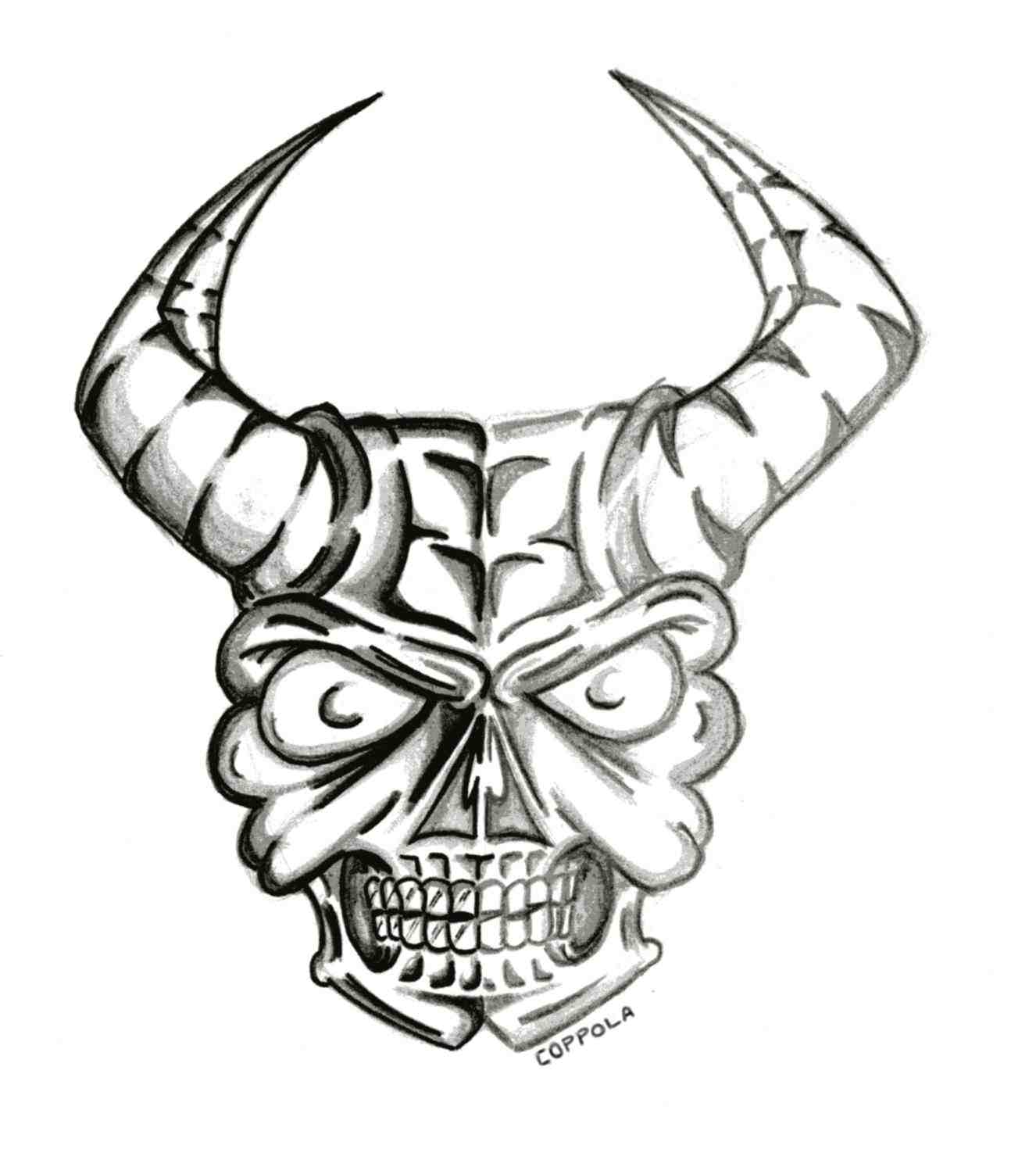 1326x1470 Skull Drawings With Horns
