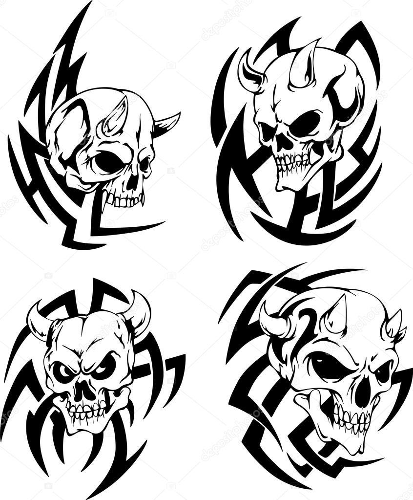 846x1023 Skulls With Horns Stock Vector Rorius