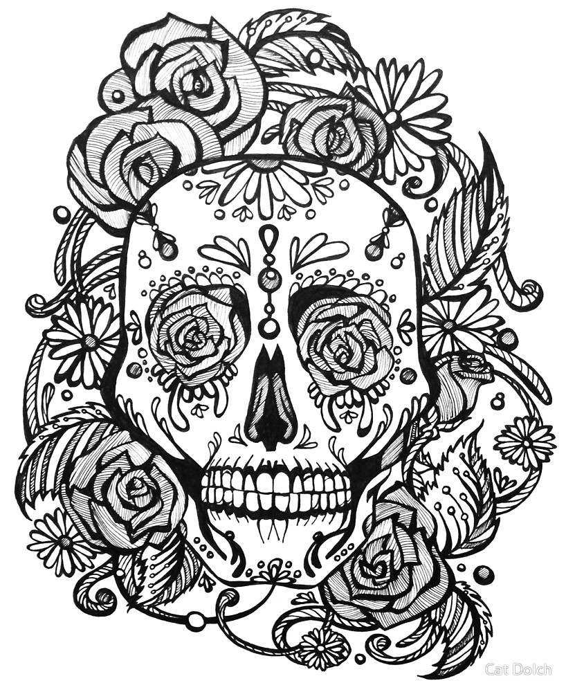 818x1000 Dia De Los Muertos Skull (Sugar Skull) With Roses By Catherine