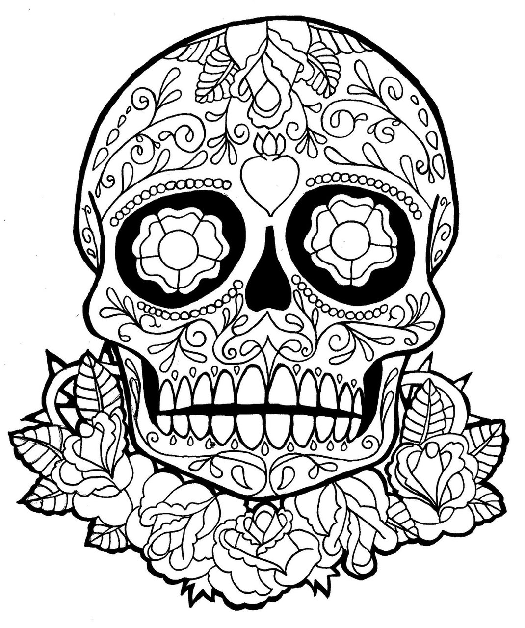 1070x1280 Skull Coloring Pages For Teen Sugar Skull Dia De Los Muertos