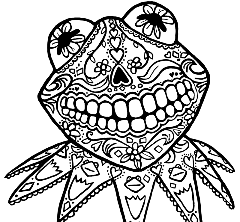 800x741 Sugar Skull Animal Coloring Pages
