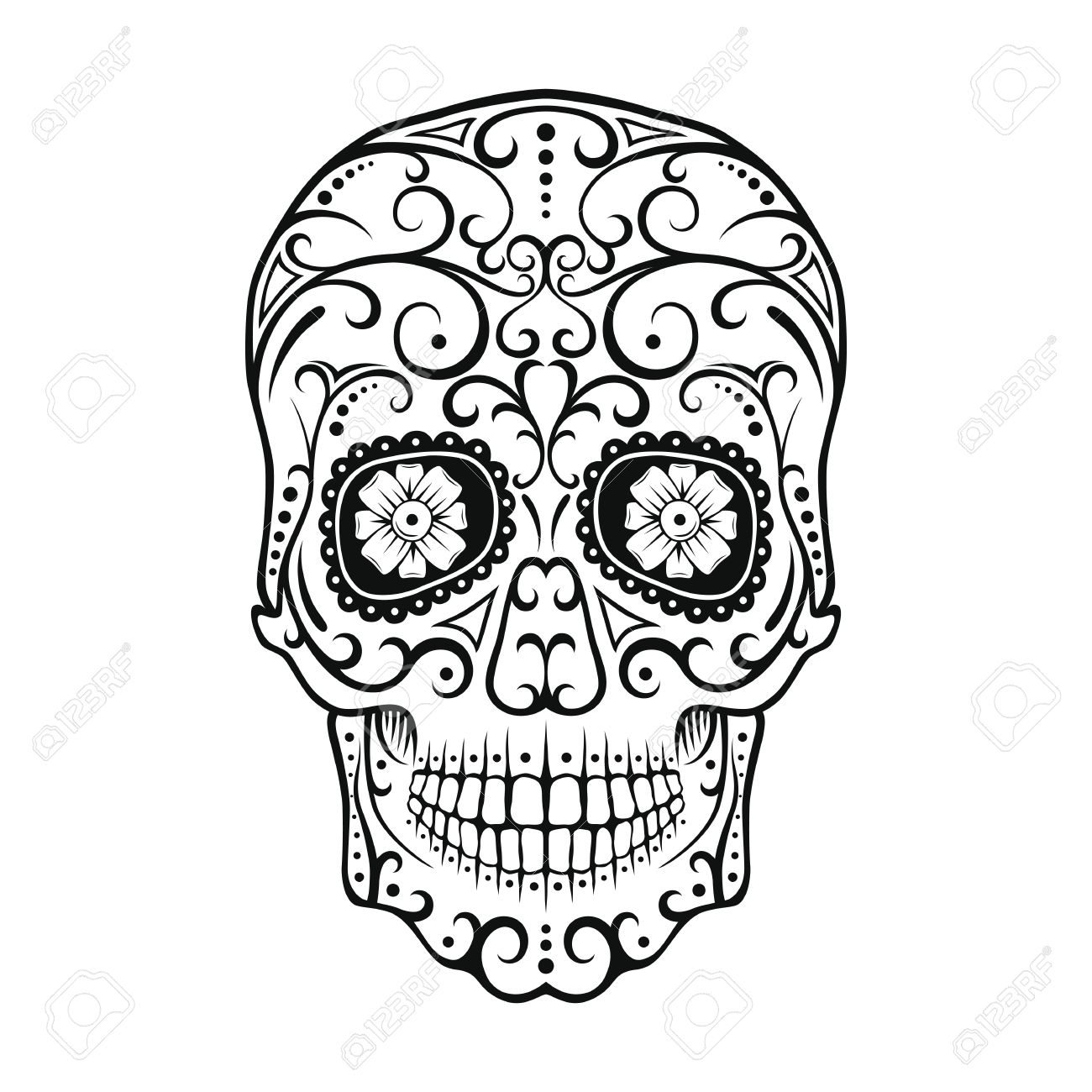 1300x1300 Black And White Tattoo Skull. Day Of The Dead Candy Skull. Mexican