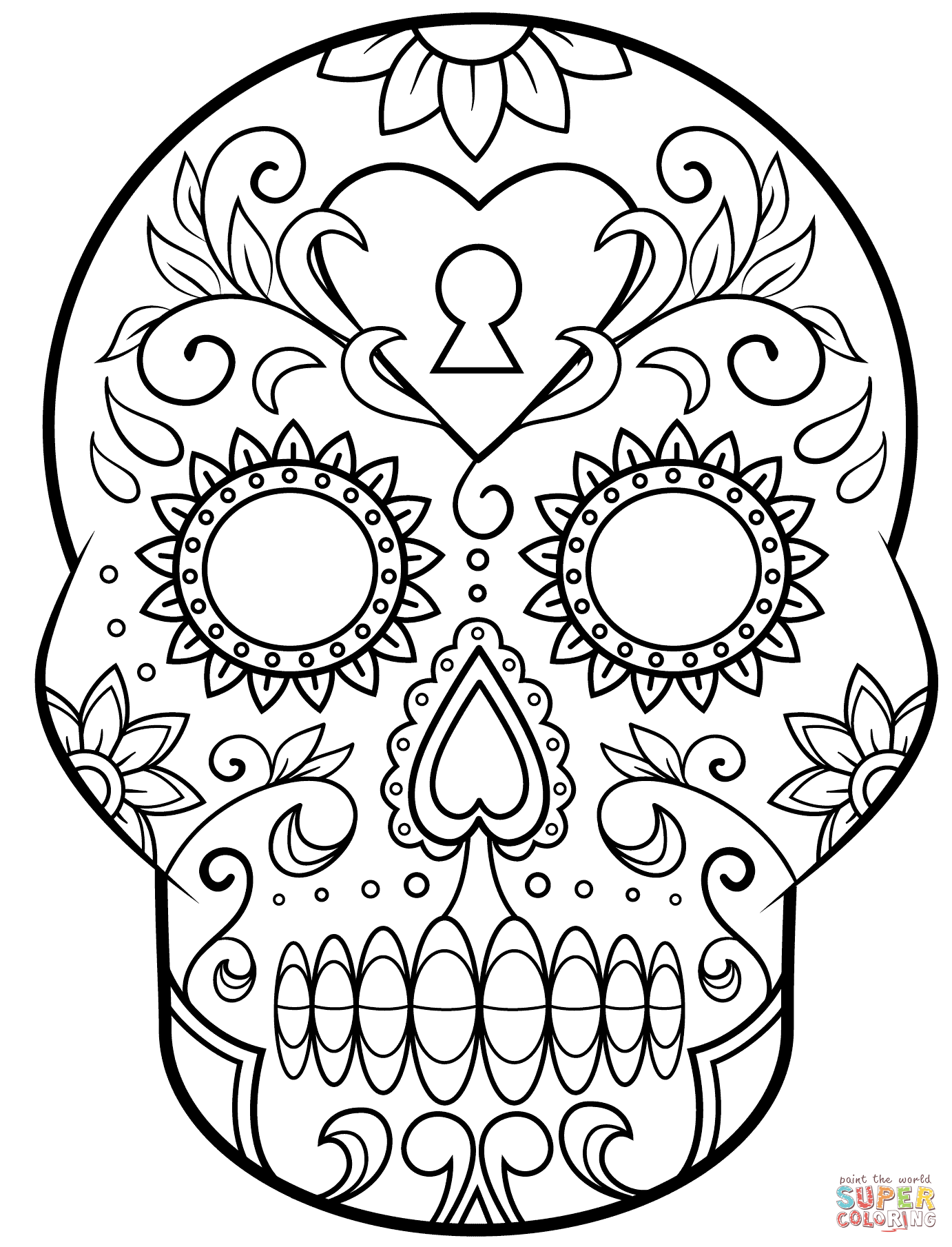 1382x1809 Day Of The Dead Sugar Skull Coloring Page Free Printable