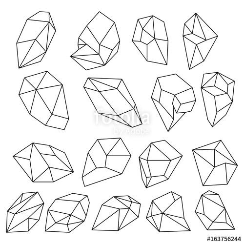 500x500 Diamond 3d Shapes. Natural Crystals Outline. Gem Stones Vector Set