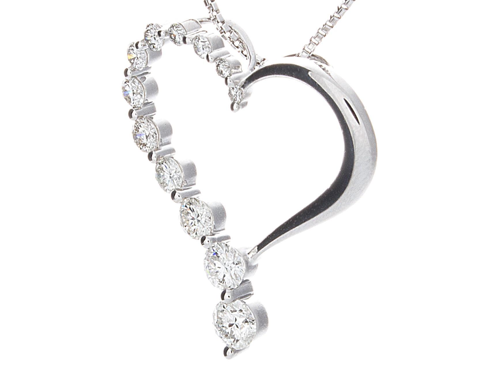 1686x1292 Certified Diamond Heart Journey Pendant In 14k White Gold G H,si1