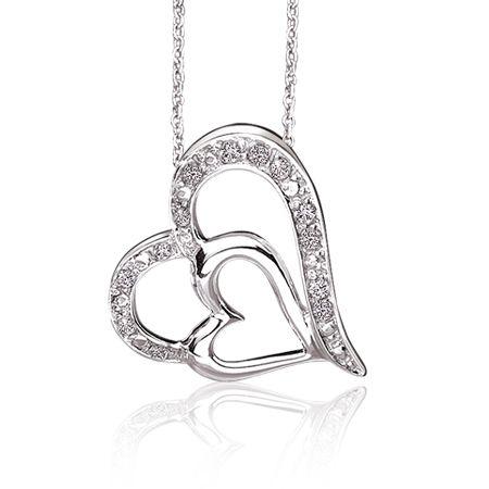 450x450 Double Diamond Heart Pendant In Sterling Silver