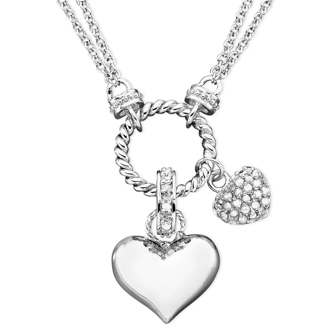 1053x1053 Heart N' Diamond Heart Pendant Necklace In Sterling Silver (14 Ct