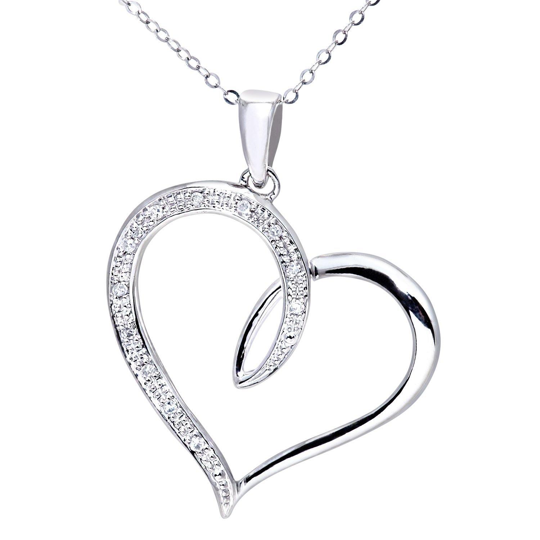1500x1500 Naava Women's 9 Ct White Gold Diamond Heart Pendant With 46 Cm