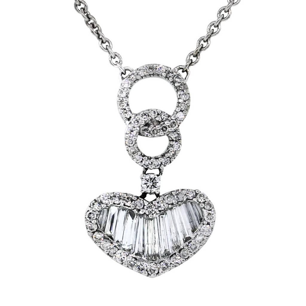 1024x1024 14k White Gold Baguette Diamond Heart Pendant On Chain Boca Raton