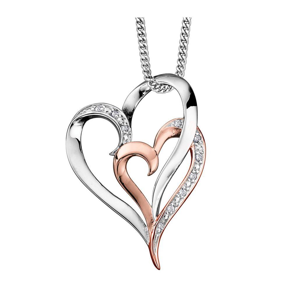 1023x1023 Rose And White Gold Diamond Heart Pendant