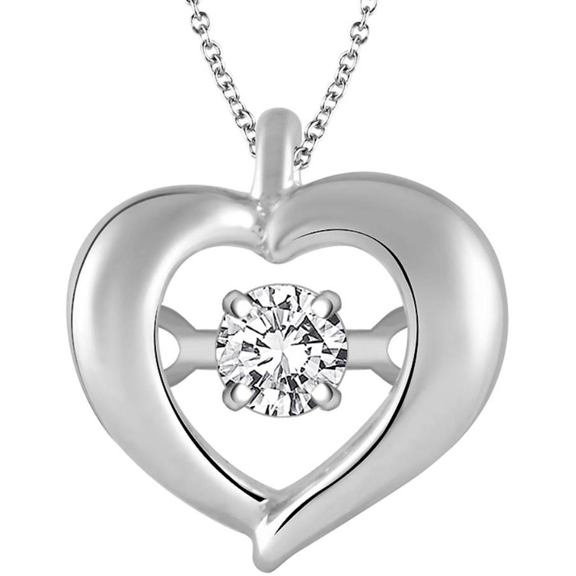 1134x1134 Sterling Silver Dancing Diamond Heart Pendant Diamond Heart