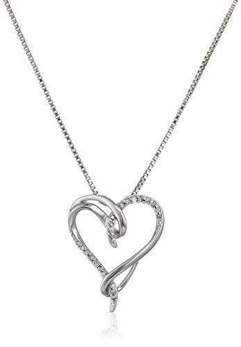347x500 Sterling Silver White Diamond Interlocking Heart