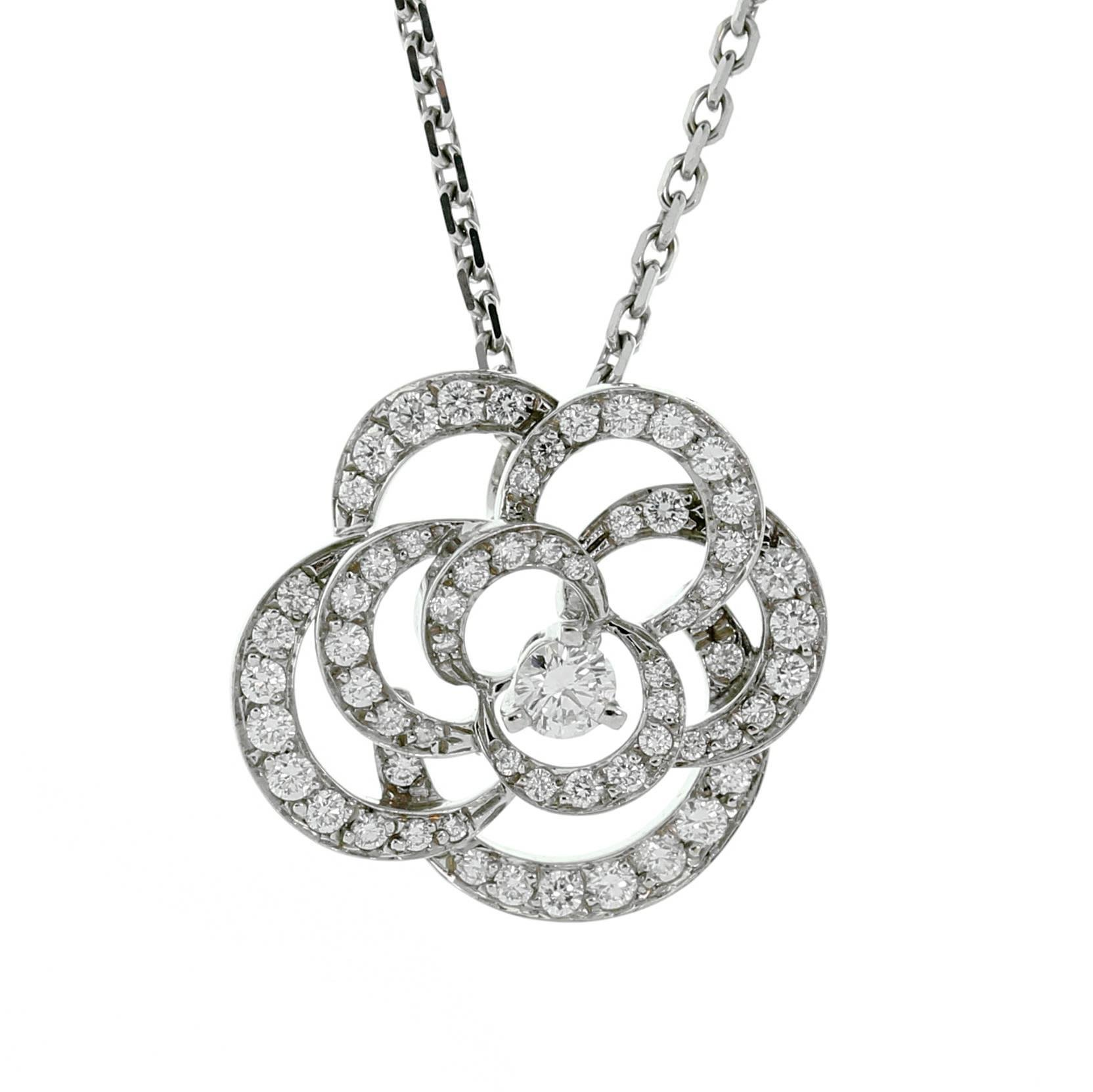 1664x1663 Chanel Camellia Flower Diamond Necklace For Sale