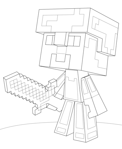 394x480 Minecraft Steve Diamond Armor Coloring Page Free Printable