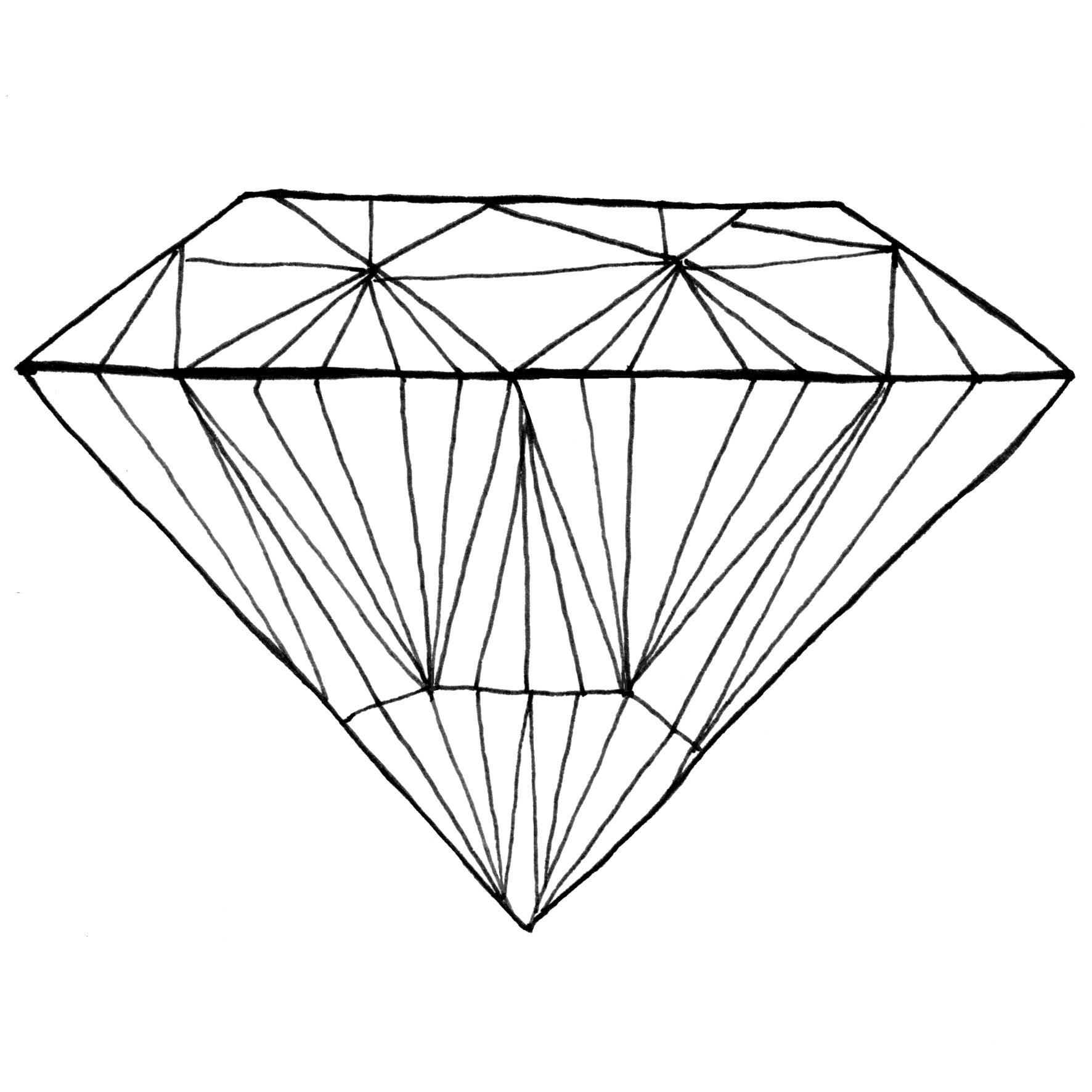 1772x1772 Diamond Line Drawing Easy Diamond Pencil Drawings