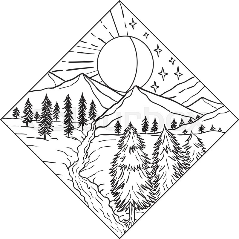 800x800 Mono Line Illustration Of Night And Day Sun And Moon Stars