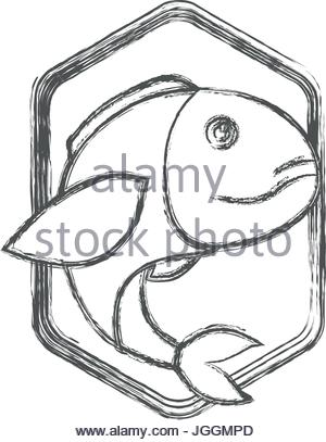 300x407 Blurred Sketch Silhouette Of Diamond Shape Emblem With Trout Fish
