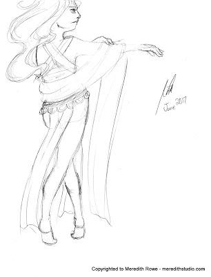 306x400 Sketch Diary Gesture Practice Dancer With Veil Bellydance Dancer
