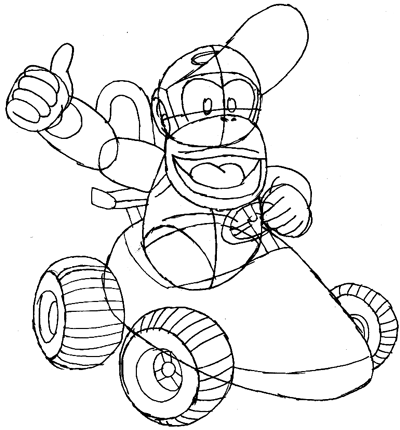 400x430 How To Draw Diddy Kong Driving His Car From Wii Mario Kart