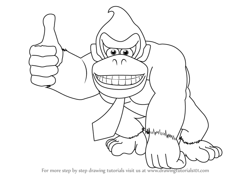 800x566 Learn How To Draw Donkey Kong (Donkey Kong) Step By Step Drawing