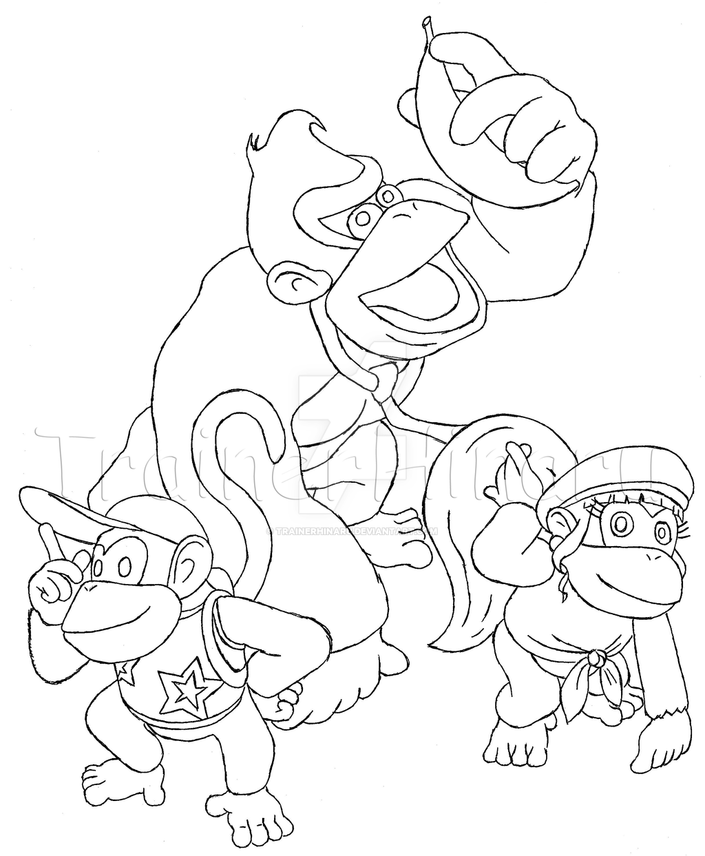 1024x1243 Diddy, Dixie And Donkey Kong By Trainerhinaru