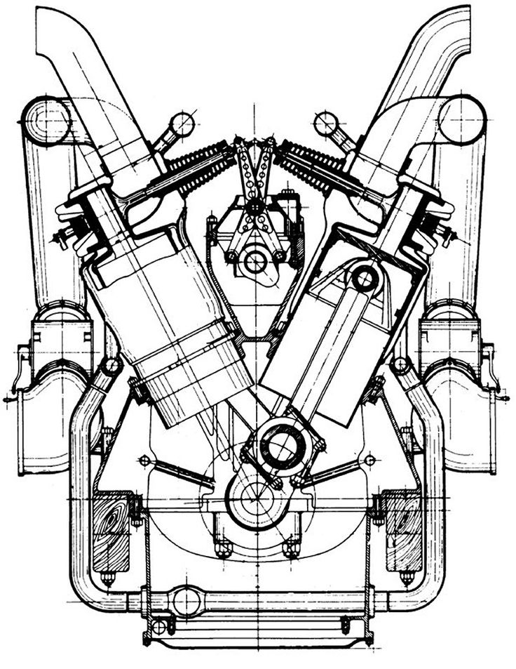 Diesel Engine Drawing