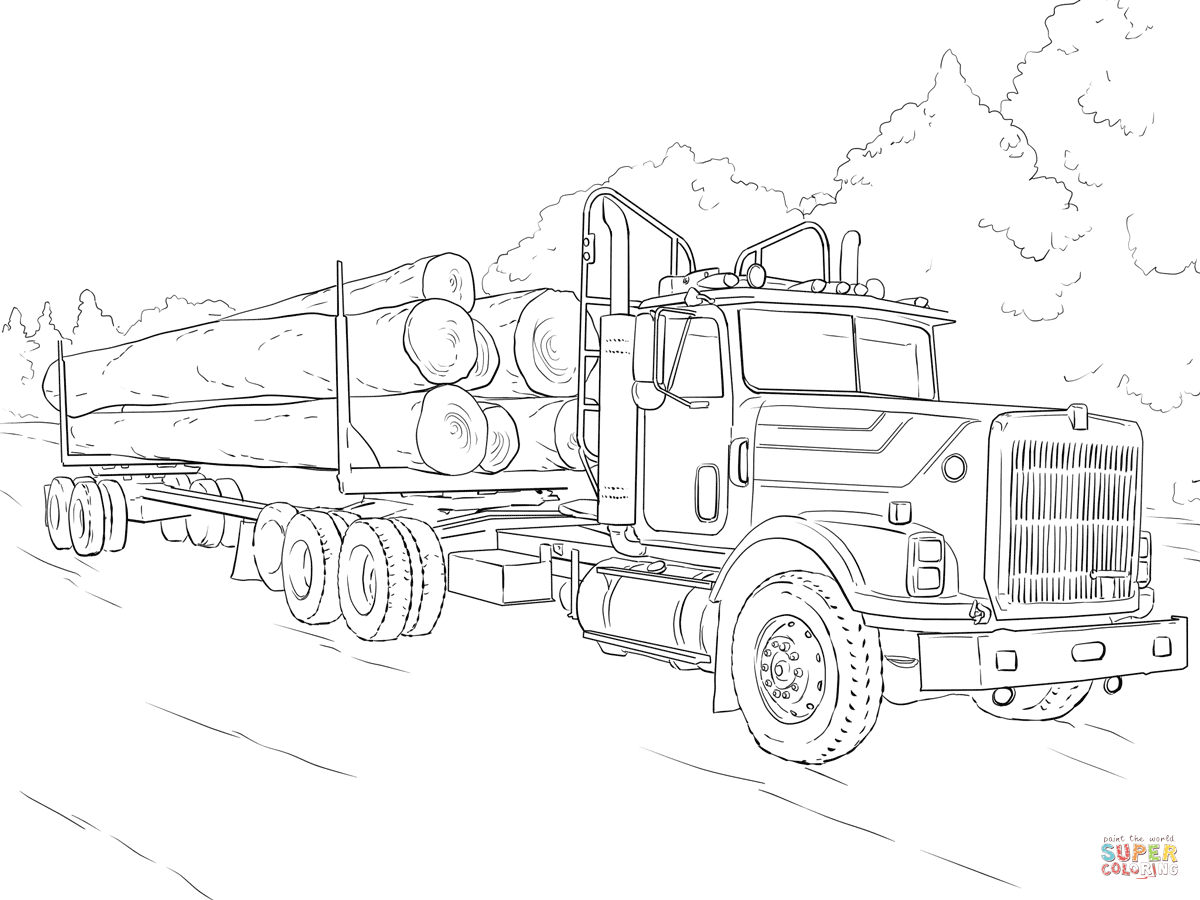 1200x900 Semi Truck Coloring Pages