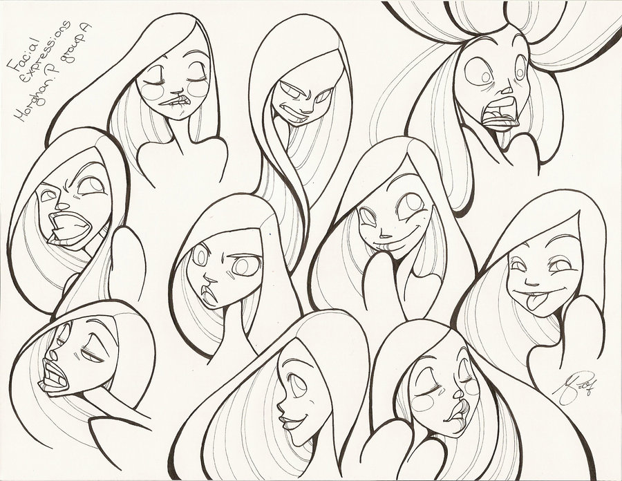 Different Facial Expressions Drawing