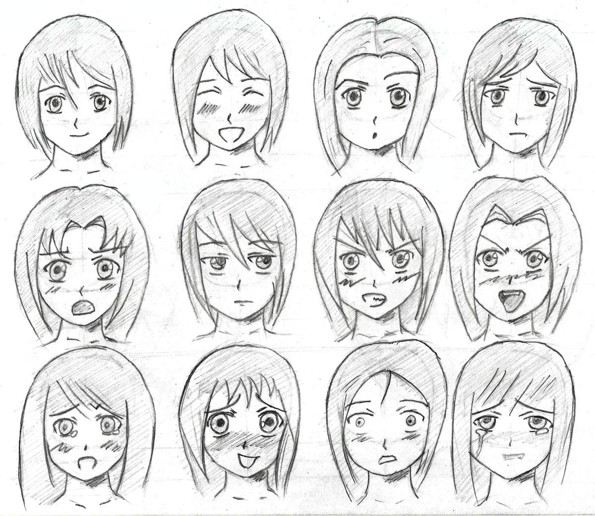 1200x1041 Anime Facial Expressions By Tulvit
