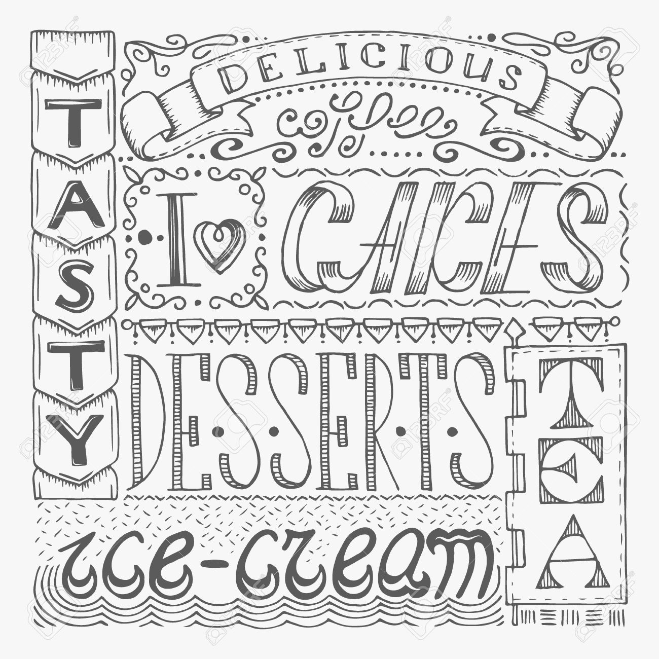 1300x1300 Different Lettering Styles For Drawing Hand Drawn Cafe Poster With